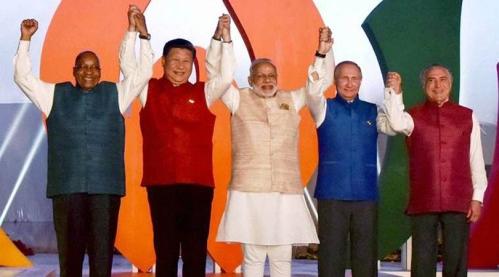 Narendra Modi with BRICS leaders