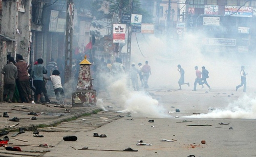 Nepalese police use tear gas to dispel c