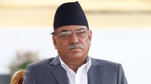 "Newly elected Nepalese PM Pushpa Kamal Dahal upon arrival to administers oath of office at presidential building ""Shital Niwas"" in Kathmandu"